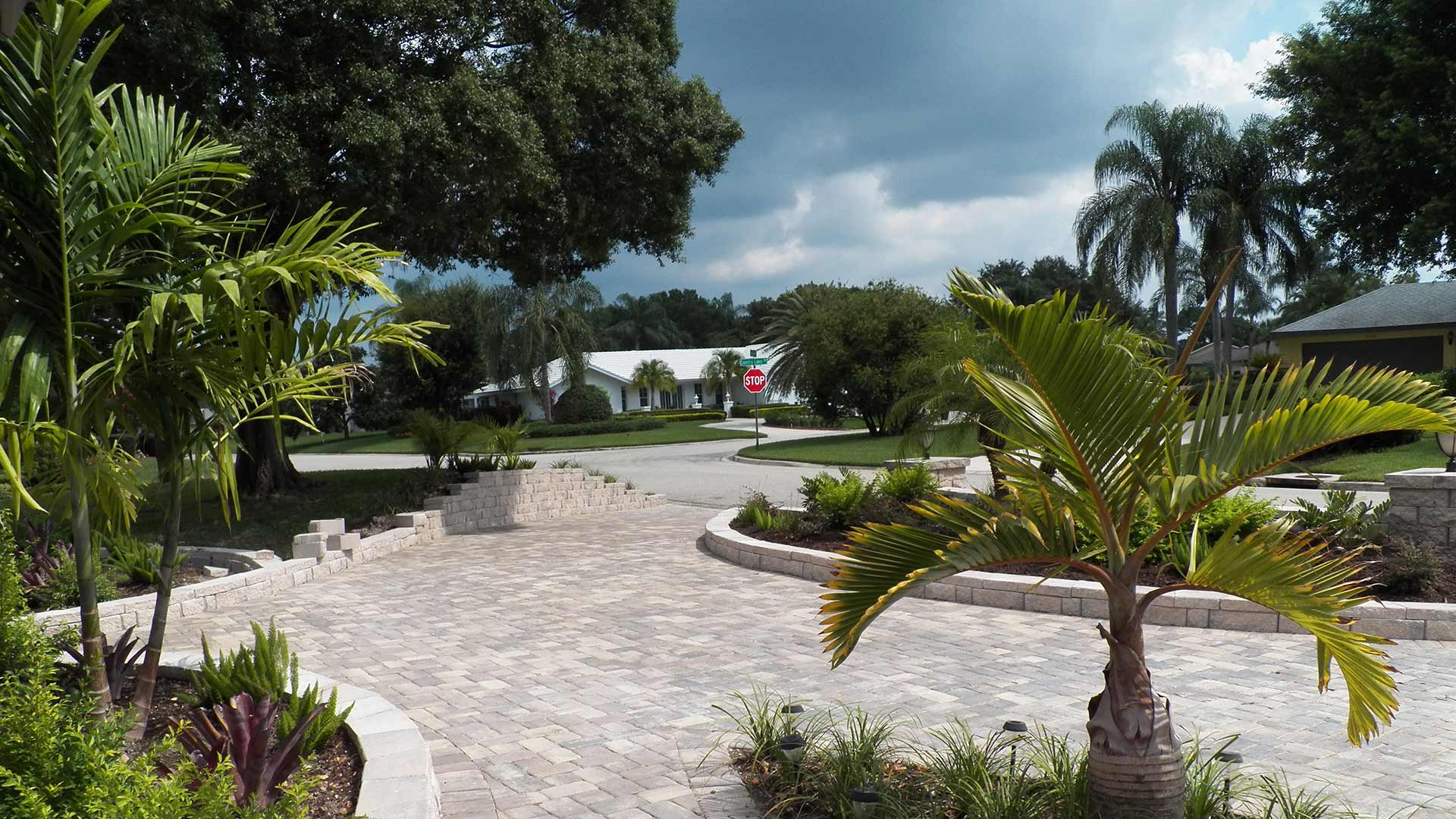 Landscape maintenance around palm trees at a Lakewood Ranch, FL property.