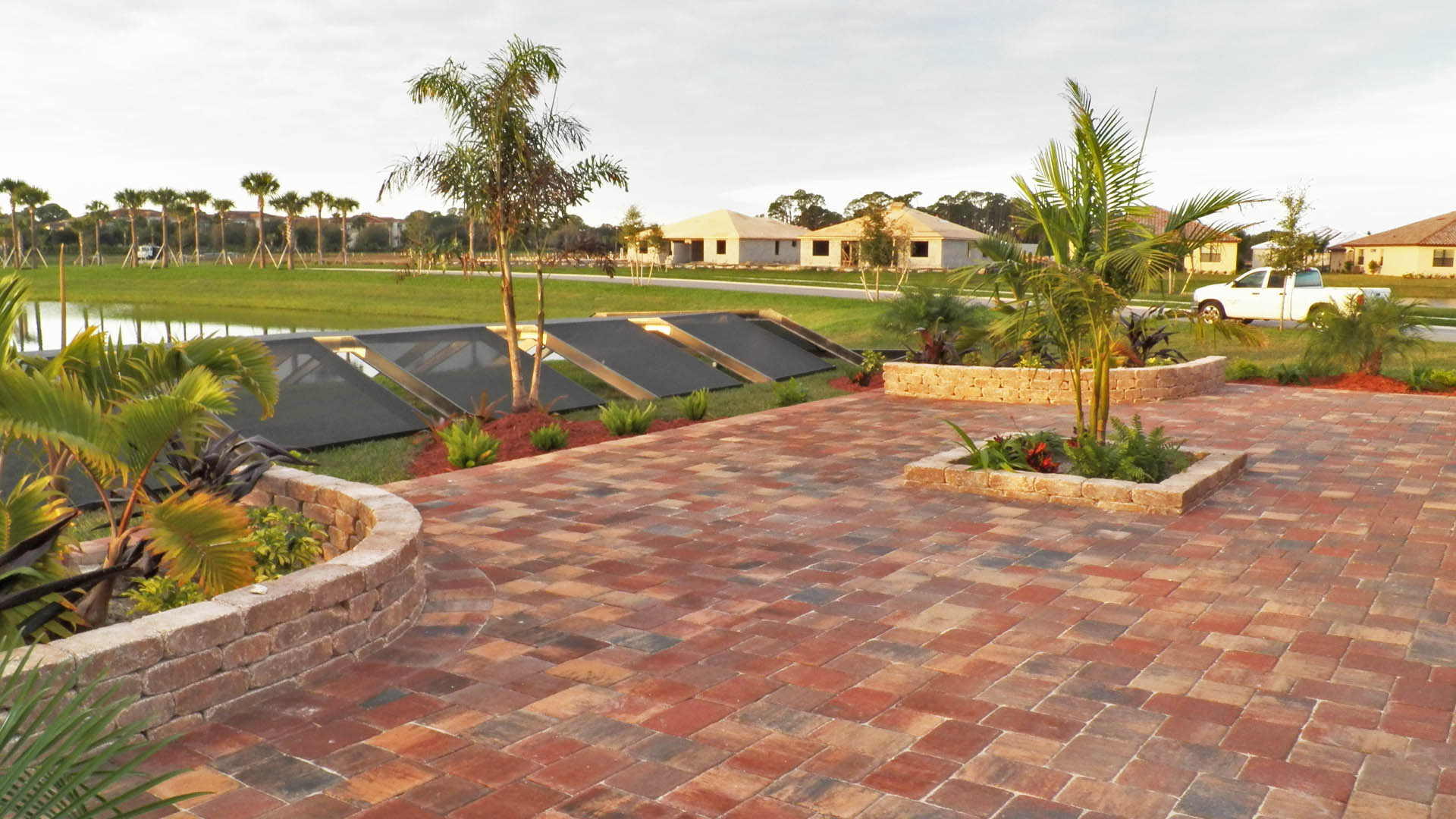 Custom patio at residential home in Palmetto, FL.