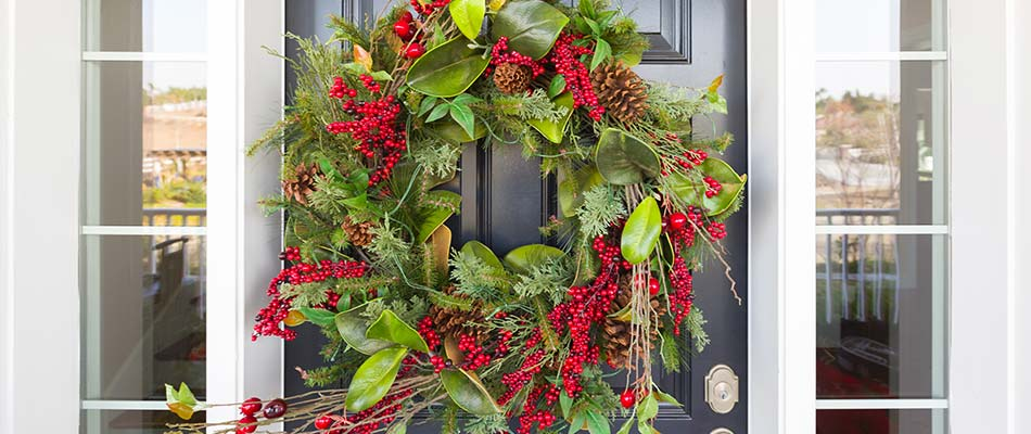 Holiday wreath hanging on a home's front door in Palmetto, FL.
