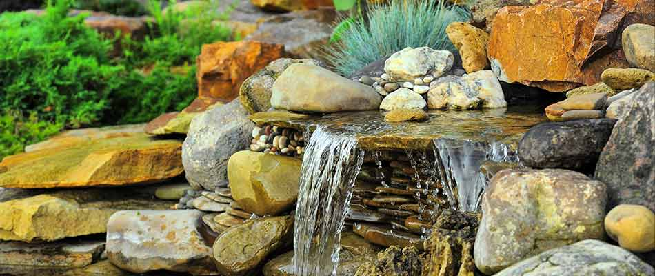 A relaxing waterfall in a backyard in Bradenton.