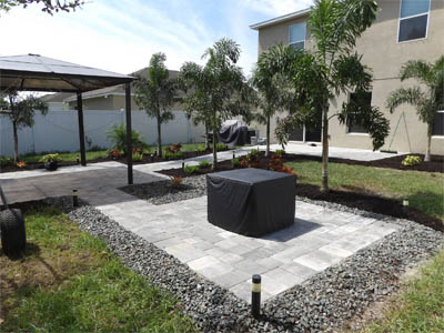 Hardscaping Pathway, Patio and Pergola at residential home in Palmetto, FL.