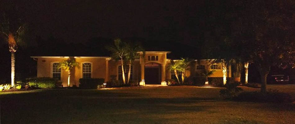 Home in Palmetto, FL with custom landscape lighting by Three Seasons.