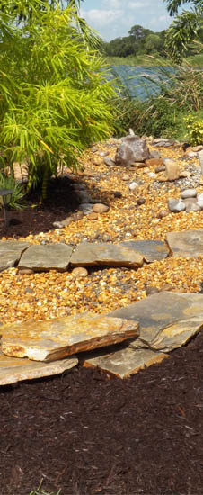 Landscaping mulch and rock project