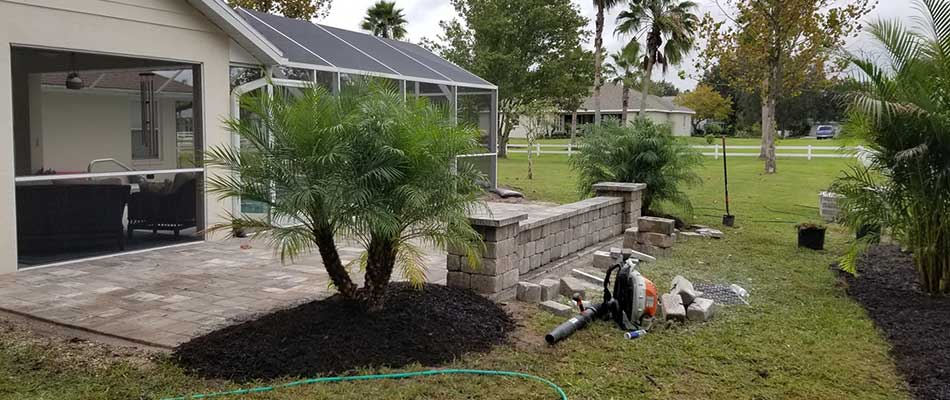 New patio and landscaping for a home in Mill Creek, Bradenton, FL.