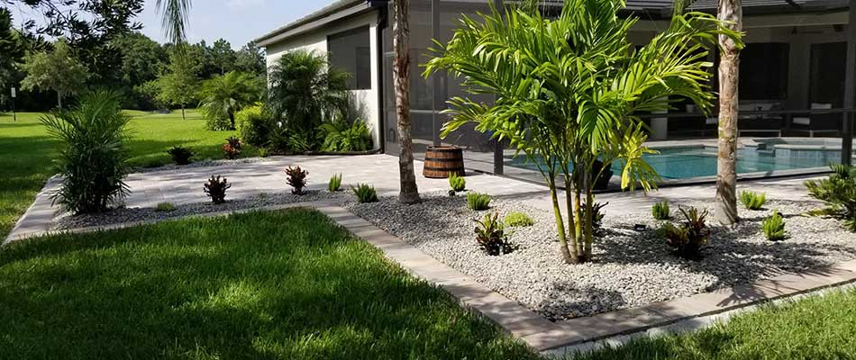 Custom Patio with Built-In Landscape Beds in Bradenton, FL
